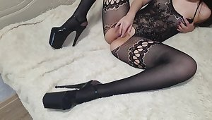 So erotic brunnete in bed touching clit and wet pussy