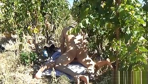 True gangster brutally fucking a young woman lost in the vineyards