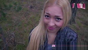 ARSCHFICK IM WALD - deutsche amateur blondine anal im stehen POV