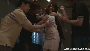 Team a few students fuck Japanese coed Kanako Iioka and fill her grab with cum