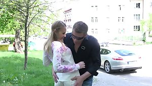 Dude fucks mouth, pussy and anus of pretty Russian teen on the designing date