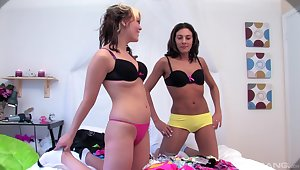 Inclusive on girl action between two blow rhythm friends Lexivia plus Zoe