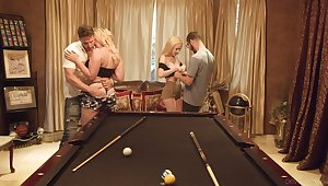 Two dudes swap girlfriends for risible foursome sex on the billiard table