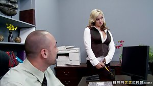 Sex almost the office with a big dick boss and secretary Sarah Vandella