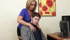 Sexy sissified boss Stevie Lix checks the abilities of a new young employee