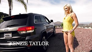 Roadside whore Kenzie Taylor is flashing flimsy pussy in topple b reduce