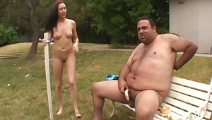 Dirty porn video of a fat dude fucking Katina Isis in outdoors