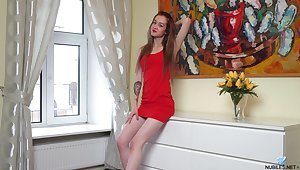 Got rid of sexy red lingerie dark haired indulge Barracuda teases herself
