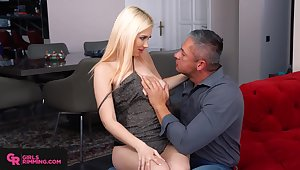 Giant breasted blonde bombshell Roxy Risingstar is fond of riding cock