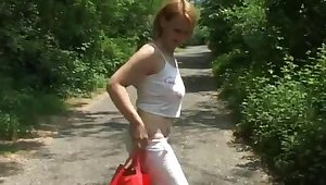 Erotic fucking close to the local forest with a natural boobs blonde