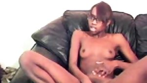 cute slim ebony with glasses simian dildo