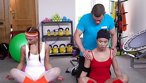 Fit and double-dealing Morgan Rodriguez and Jade Presley enjoyment from a trainer