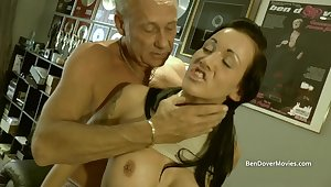British chav Chantelle Abaddon licking ancient mans asshole